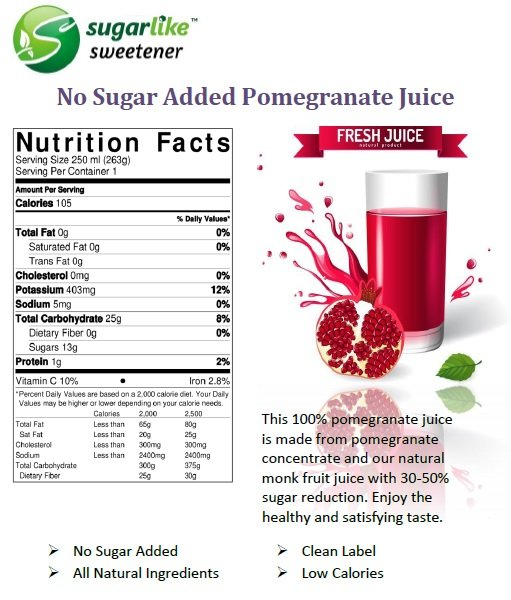 No Sugar added pomegranate juice